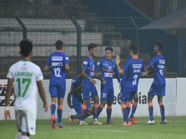 Indian Arrows players celebrating goal against NEROCA. (Photo/ AIFF)