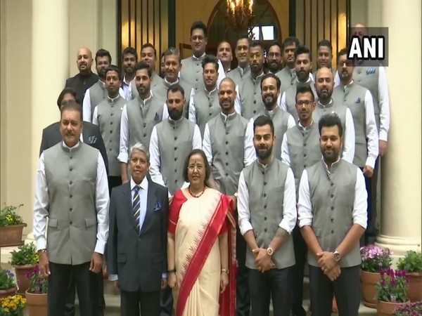 Members of the Indian cricket team with Indian High Commissioner to the UK Ruchi Ghanashyam at her residence in London on Friday.