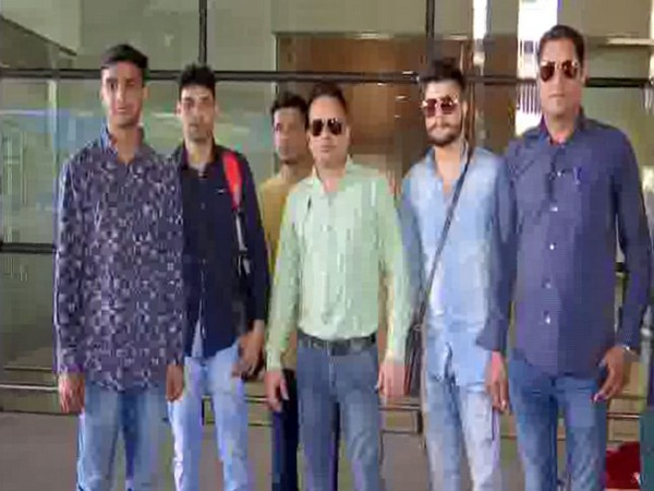 Five crew members of Indian cargo ship 'MV Andromeda'arrived in Mumbai on Sunday from Greece. Photo/ANI