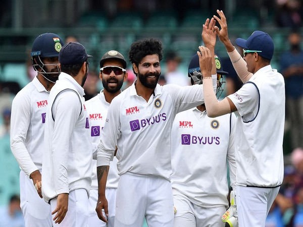 Indian players celebrating after taking a wicket. (Photo/ ICC Twitter)