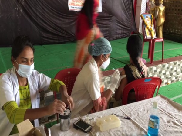 Visual of vaccination drive in Indore. (Photo/ANI)
