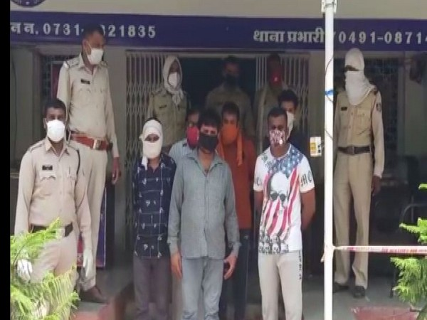 Six people held for allegedly beating up a man in Indore, on Sunday. Photo/ANI