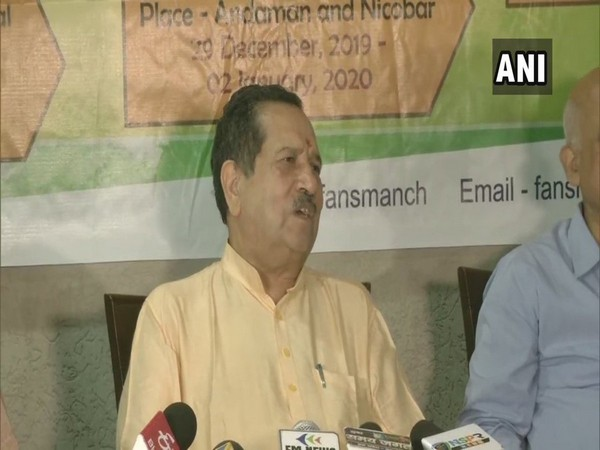 RSS leader Indresh Kumar while addressing a press conference in Bhopal on Wednesday. (Photo/ANI)