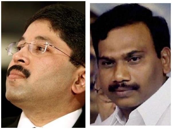 Former Union Minister Dayanidhi Maran, left, and A Raja