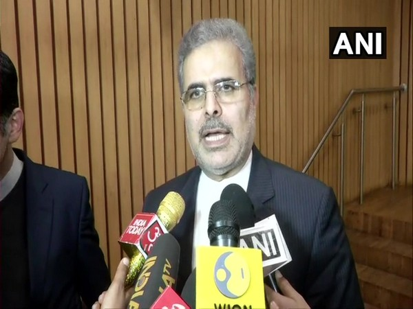 Iran's Ambassador to India Ali Chegeni speaking to reporters in New Delhi on Wednesday.