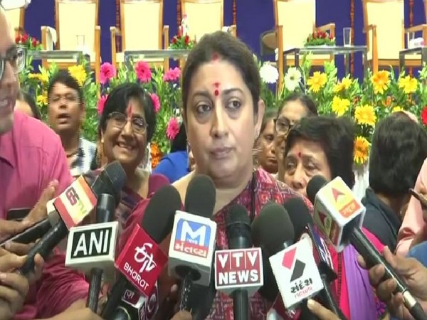 Smriti Irani while attending the Smartphone distribution program