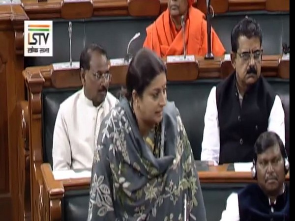 Union Minister Smriti Irani speaking in the Lok Sabha on Monday. Photo/LSTV