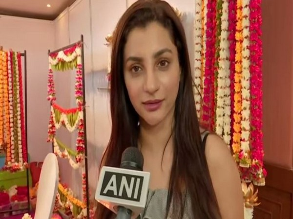 Actress Isha Sharma speaking to ANI in Hyderabad.