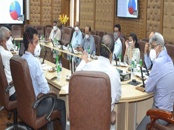 Financial Commissioner Health, Central Team review COVID-19 Control measures in six districts of Jammu on Sunday. Photo/ANI