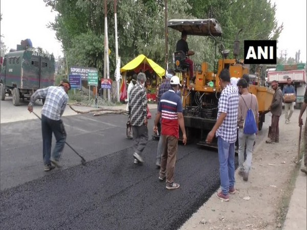 Development project work in Baramulla district, Jammu and Kashmir. (Photo/ANI)