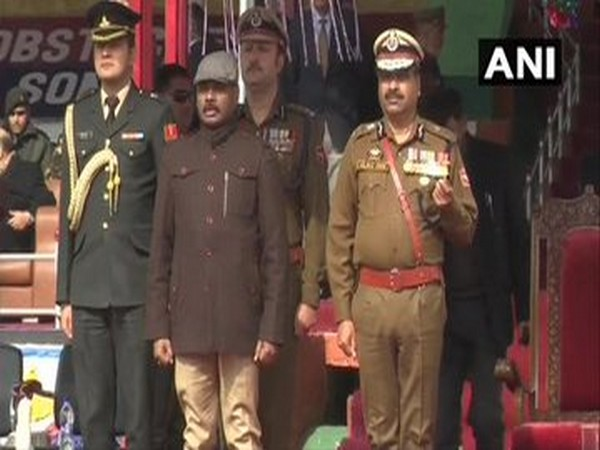 Lt Governor GC Murmu and DGP Dilbag Singh at the passing out parade in Ganderbal on Monday.