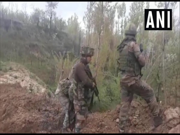 Security forces at the encounter site in Shopian on Saturday. Photo/ANI