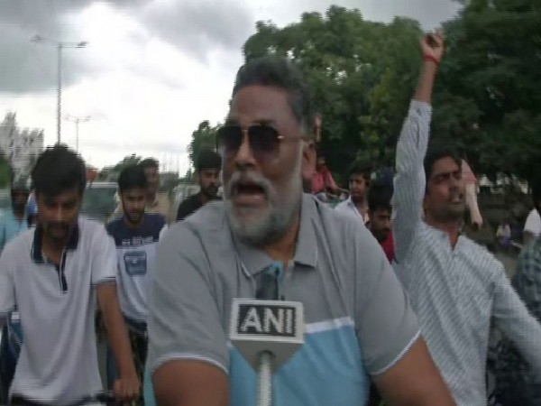 JAP president Pappu Yadav during the cycle march in Patna on Saturday. Photo/ANI