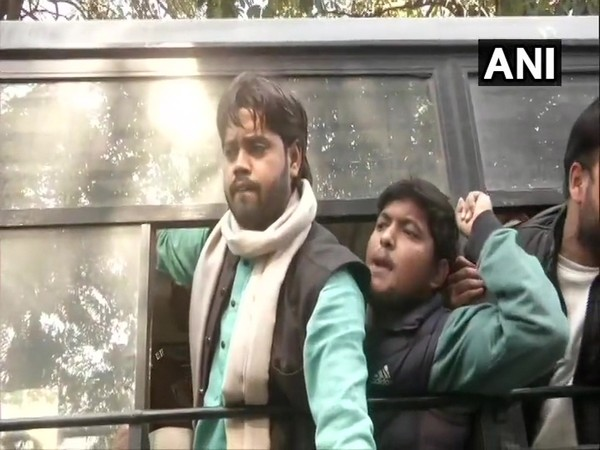 Members of Jamia Coordination Committee after getting detained outside Tamil Nadu House in Delhi on Saturday.