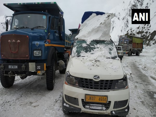 BRO cleared Srinagar-Sonmarg road, vehicles were stranded here due to snow and avalance. (Photo/ANI)