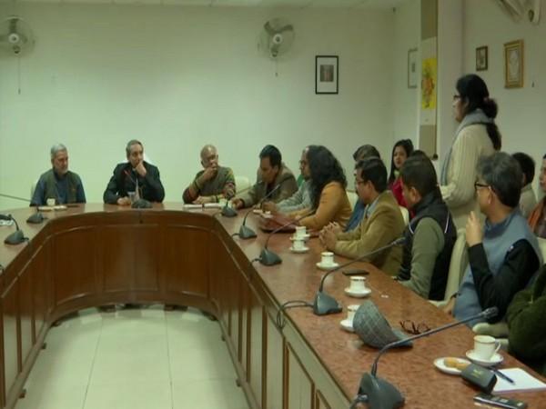 JNU VC M Jagadesh Kumar held a meeting with teachers on Sunday. Photo/ANI
