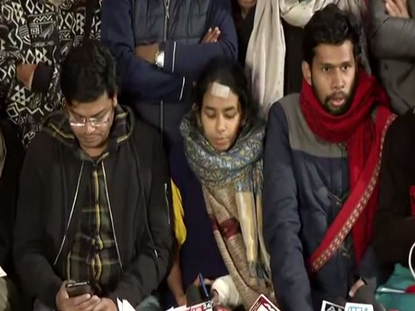 JNUSU holding a press conference in New Delhi on Saturday. (Photo/ANI)
