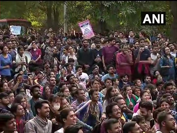 Visual from the protest carried out by JNU students on Monday. File photo/ANI
