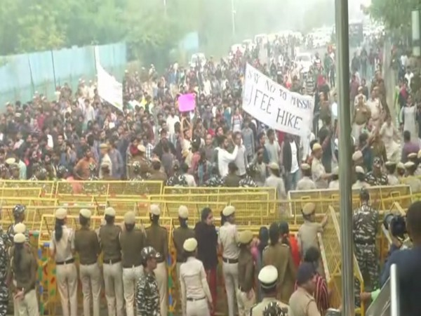 Hundreds of JNU students were seen carrying out a protest march from freedom Square to AICTE Auditorium in the campus. Photo/ANI