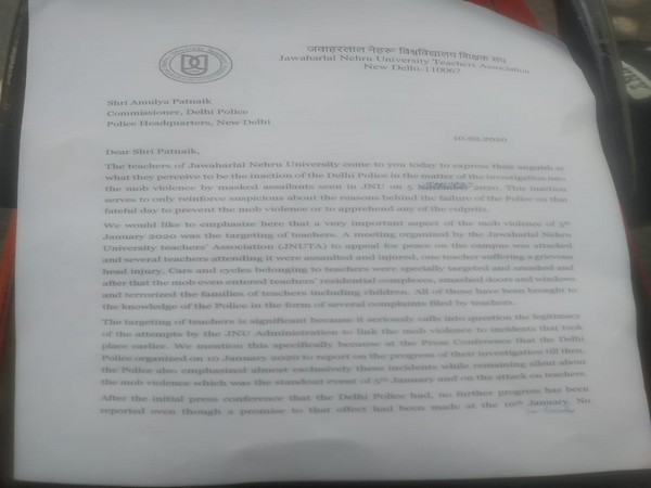 A screen grab of the letter submitted by JNUTA to Delhi Police Commissioner on Monday. Photo/ANI