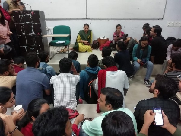 An image shared by the JNU VC showing students and Associate Dean Dr Vandana Mishra on Friday. (Photo credit: Twitter)