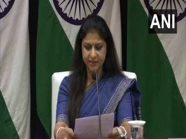 Neeta Bhushan, Joint Secretary, Central Europe addressing a press briefing on Tuesday.