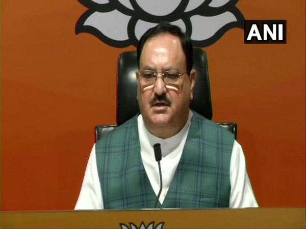 BJP President JP Nadda speaking at a press conference in New Delhi on Wednesday. [Photo/ANI]