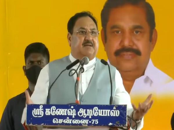 Bharatiya Janata Party National President JP Nadda adressing a public rally at Tamil Nadu's Thrivaiyaru. (Photo/ ANI)