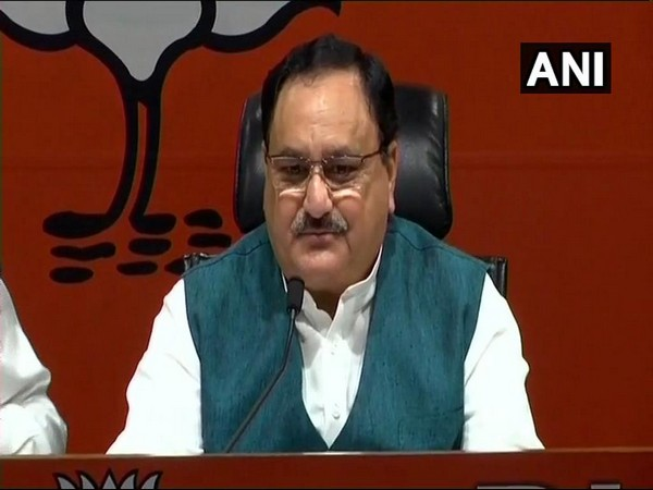 Union Minister JP Nadda talking to media persons after the CEC cleared 182 names for the ensuing Lok Sabha polls on Thursday in New Delhi. Photo/ANI