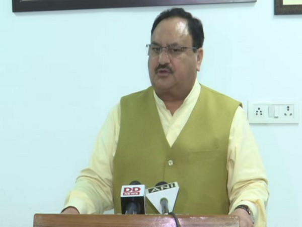 BJP president JP Nadda speaking to reporters on Thursday. Photo/ANI