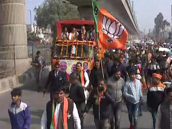 BJP president JP Nadda held a road show along with wrestlers and BJP members Yogeshwar Dutt and Babita Phogat in Mundka Assembly constituency