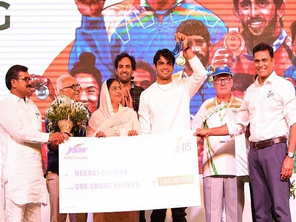 Neeraj Chopra during the felicitation ceremony