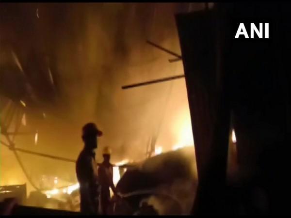 Visuals from the fire fighting operations underway in Gohalpur, Jabalpur on Friday. Photo/ANI