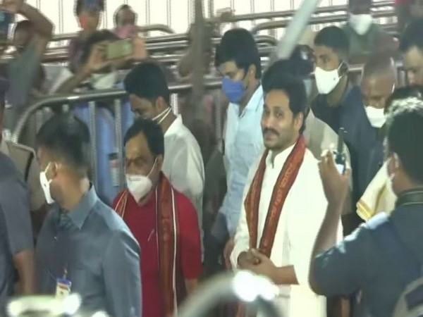 Andhra CM YS Jagan Mohan Reddy at the Kanaka Durga temple premises on Wednesday. Photo/ANI