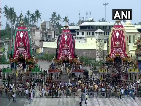 A visual of Lord Jagannath's Rath Yatra being held in Puri, Odisha. (Photo/ANI)