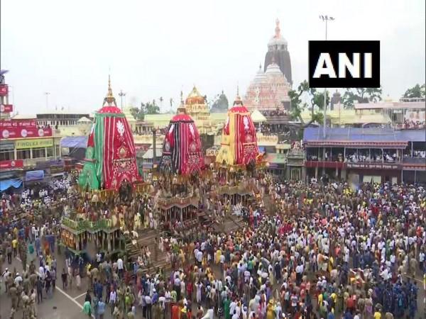 Jagannath Rath Yatra celebration in Odisha. Photo/ANI