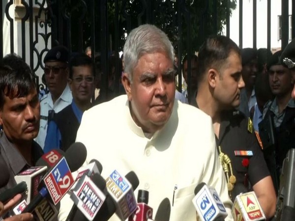West Bengal Governor Jagdeep Dhankar speaking to the media on Thursday.