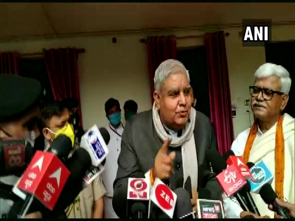 West Bengal governor Jagdeep Dhankar addressing reporters (Photo ANI)
