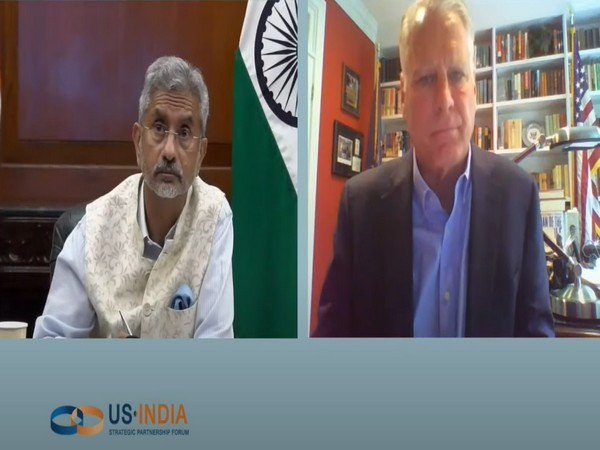 India's foreign minister S Jaishankar interacting with Timothy Roemer, former US envoy to India, at the US-India Strategic Partnership Forum's summit. (Credit: MEA)