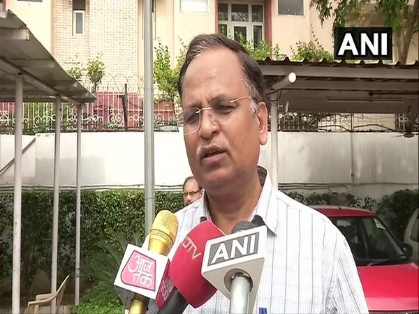 Delhi Health Minister Satyendar Jain speaking to media on Thursday. Photo/ANI