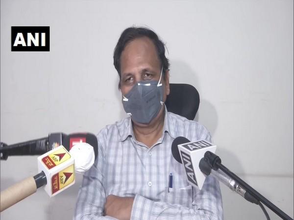 Delhi Health Minister Satyendar Jain speaking to media on Wednesday. Photo/ANI