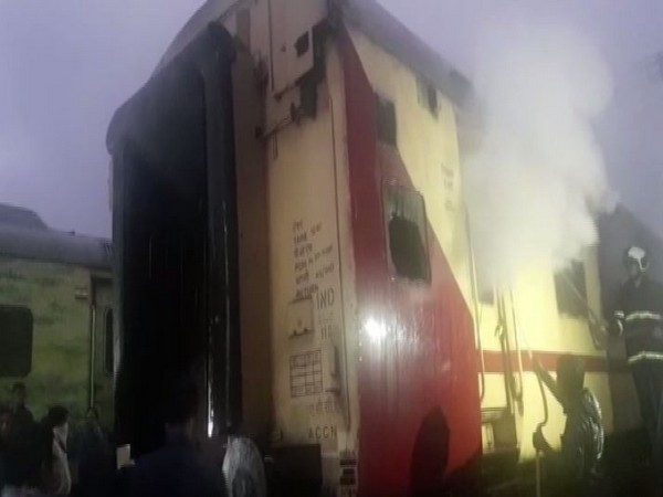 Fire tenders douse the fire in Jaipur Express in Mumbai. Photo/ANI