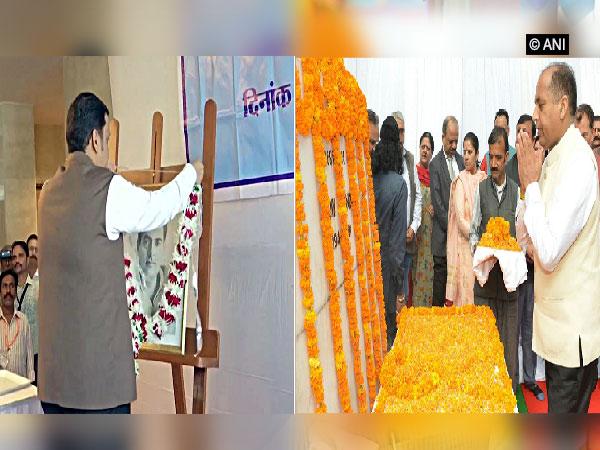 CMs Devendra Fadnavis and Jai Ram Thakur paying tribute to late Rajiv Gandhi (Photo/ANI)