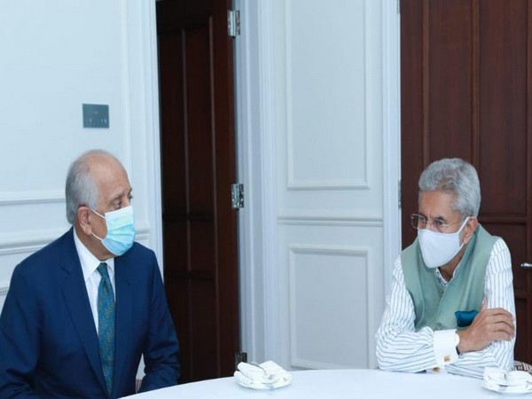 US Special Representative for Afghanistan Reconciliation, Zalmay Khalilzad meeting with S Jaishankar, External Affairs Minister of India in Doha (Twitter)