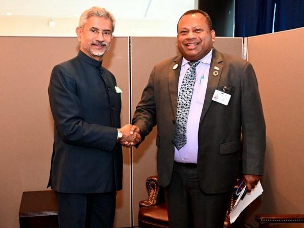 External Affairs Minister S Jaishankar with his Fijian counterpart Inia Seruiratu in New York on Tuesday. (Photo Credits: Jaishankar's Twitter)