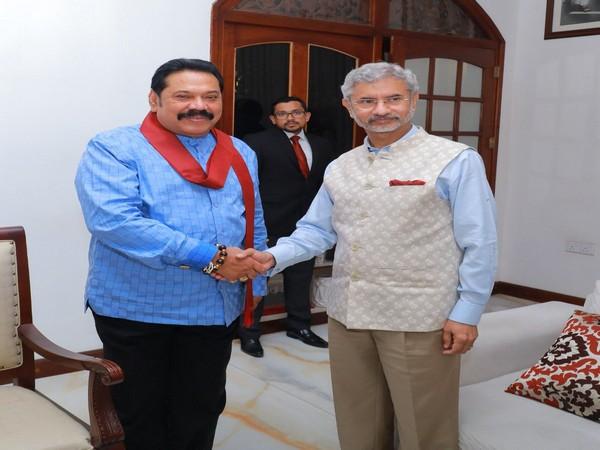 External Affairs Minister S Jaishankar and former Sri Lankan president Mahinda Rajapaksa in Colombo on Tuesday. (Photo Credits: Mahinda Rajapaksa Twitter)