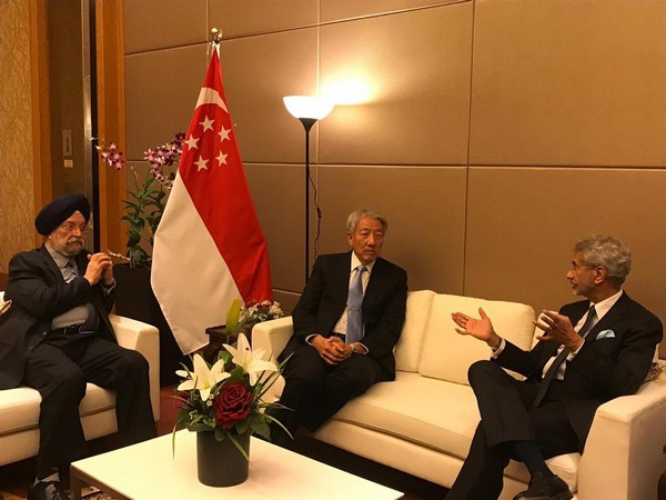 External Affairs Minister S Jaishankar and Union Minister Hardeep Puri with Singapore senior minister Teo Chee Hean in Singapore on Monday. (Photo Credits: Jaishankar's Twitter)