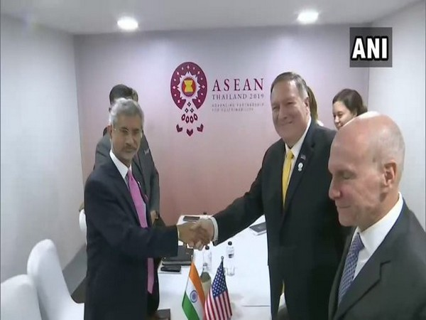 External Affairs Minister S Jaishankar and US State Secretary Mike Pompeo in Bangkok on Friday