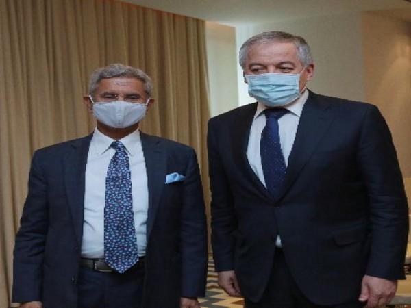 EAM S Jaishankar with his Tajik counterpart Sirojiddin Muhriddin. (Twitter/S Jaishankar)