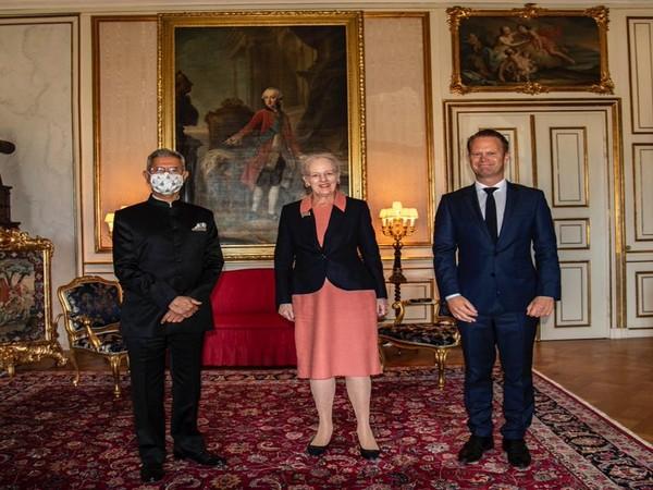 EAM S Jaishankar with Danish Queen Margrethe II and FM Jeppe Kofod. (Twitter)